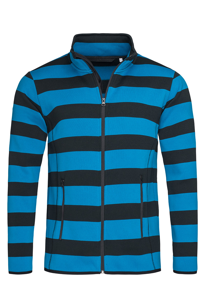 ST5090_BBL Striped Fleece Jacket Brilliant Blue