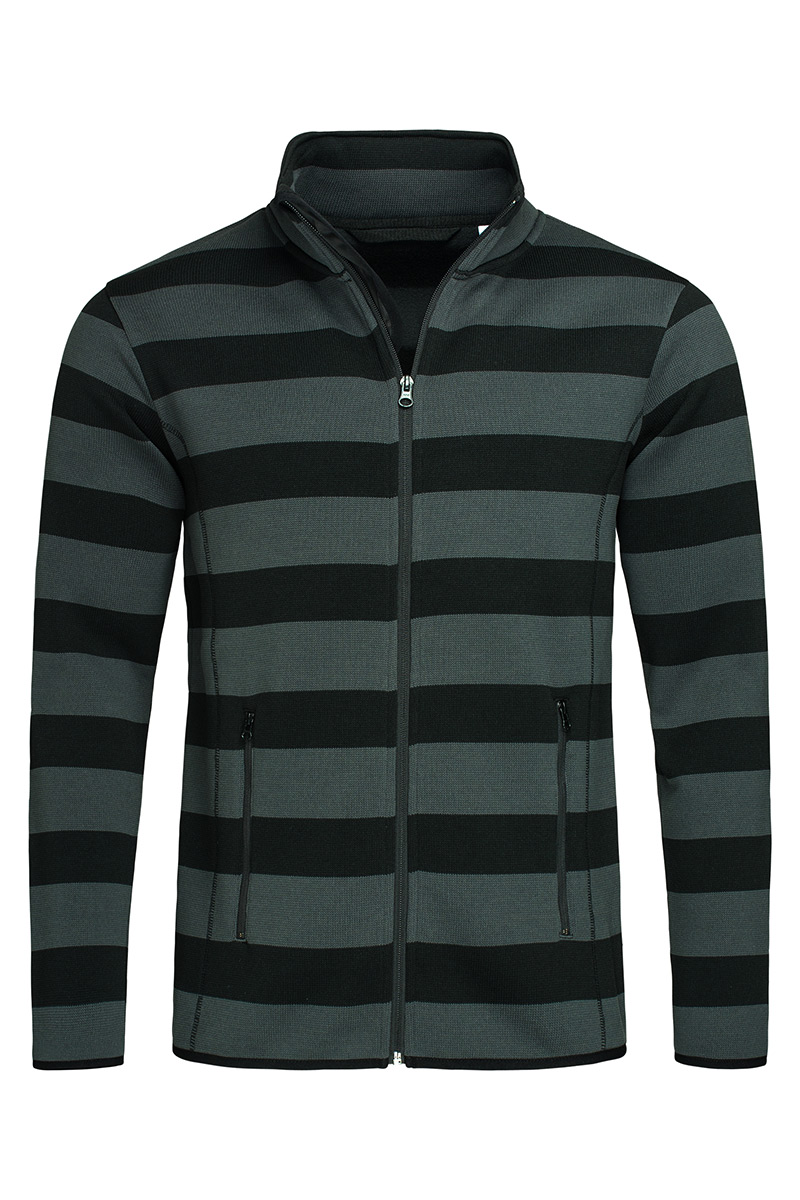 ST5090_GRS Striped Fleece Jacket Grey Steel