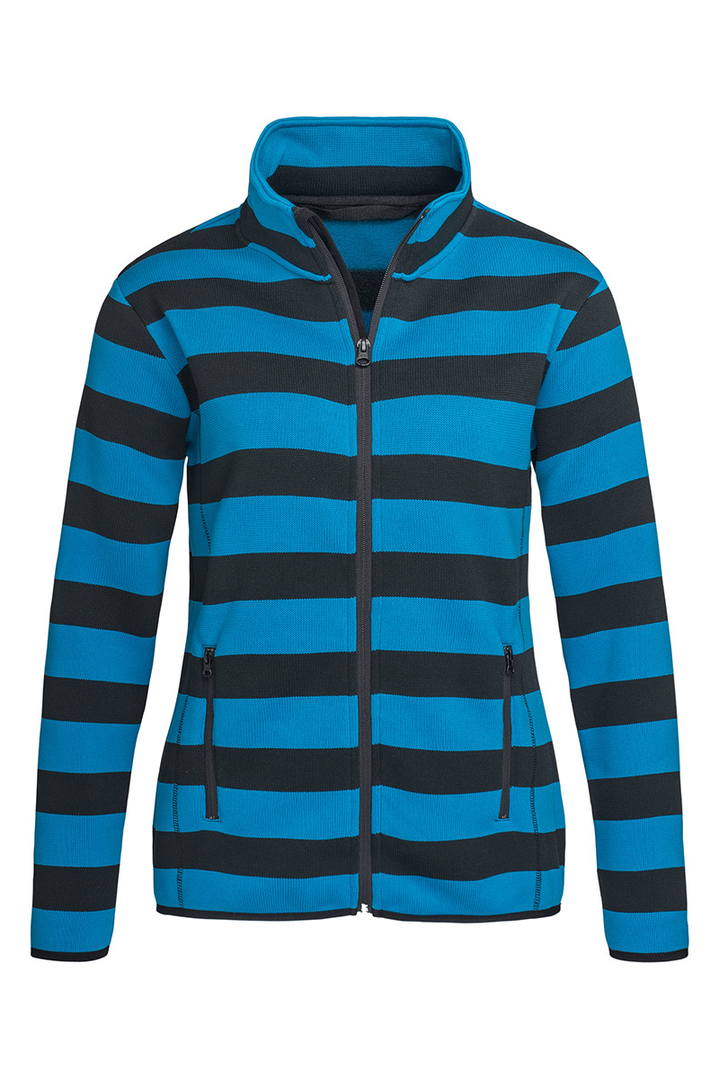 ST5190_BBL Striped Fleece Jacket Brilliant Blue
