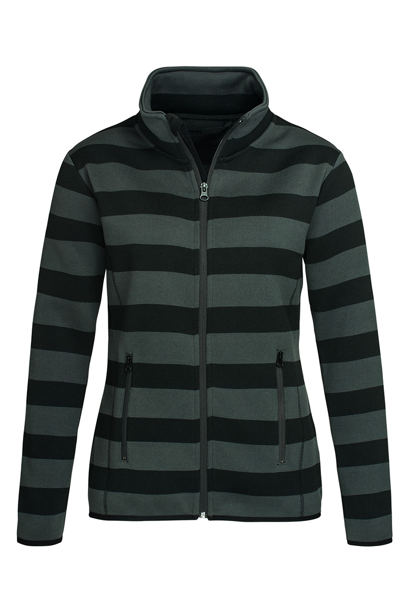 ST5190_GRS Striped Fleece Jacket Grey Steel