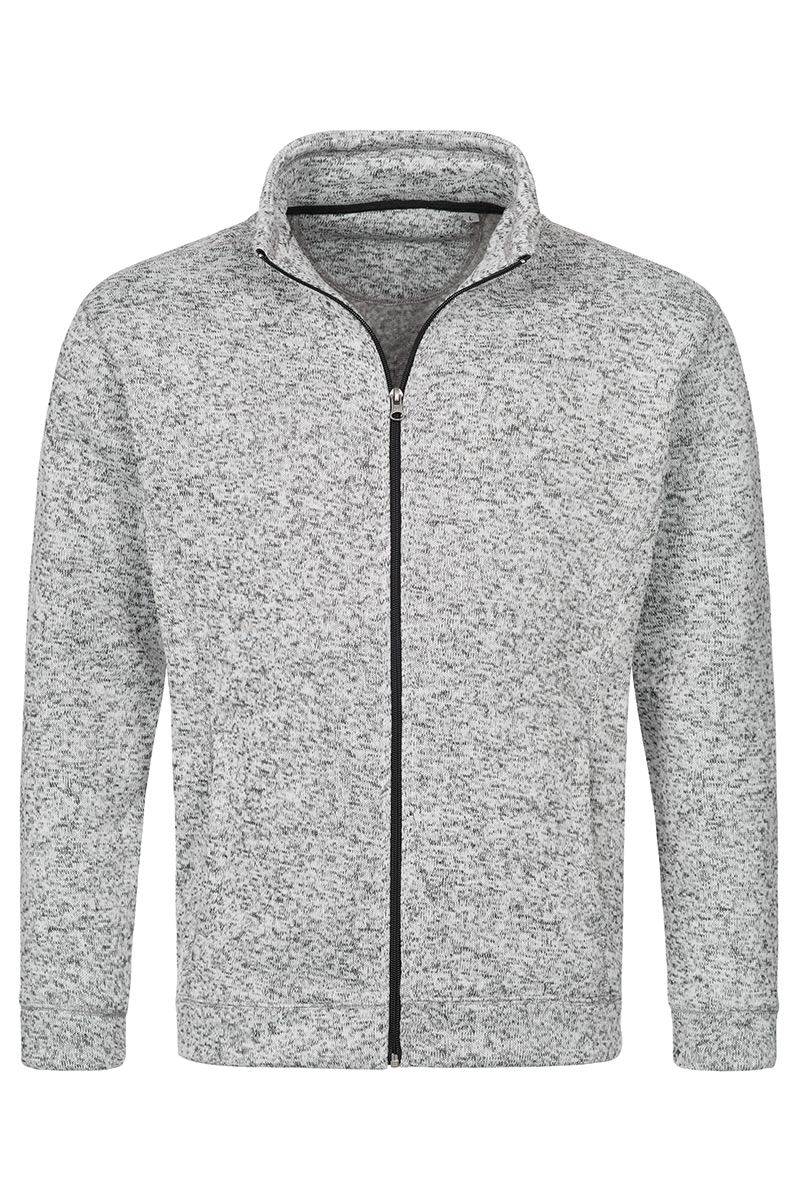 ST5850_LGM Knit Fleece Jacket Light Grey Melange