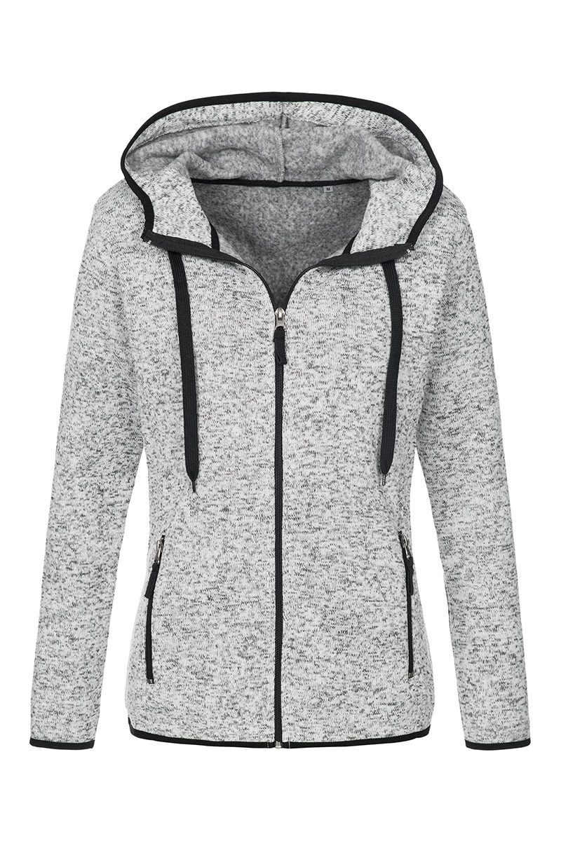 ST5950_LGM Knit Fleece Jacket Light Grey Melange
