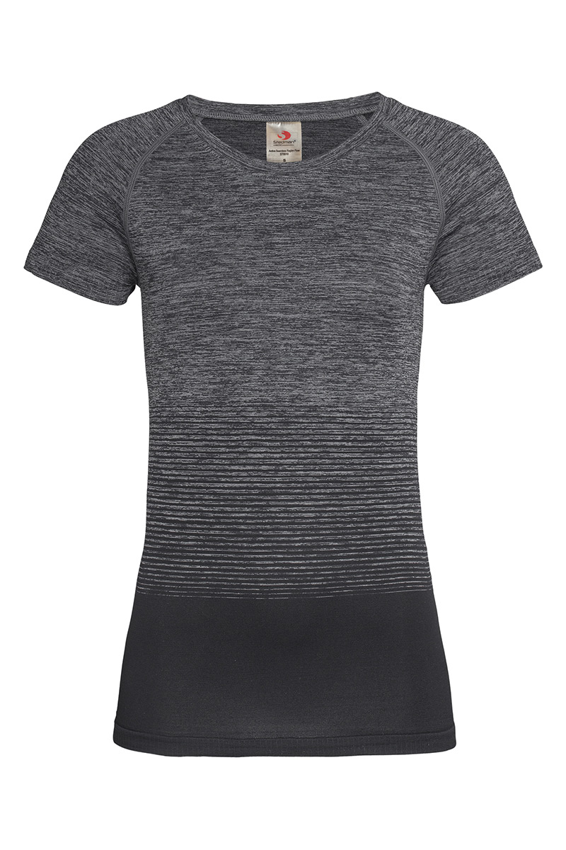 ST8910_DGT Seamless Raglan Flow Dark Grey Transition