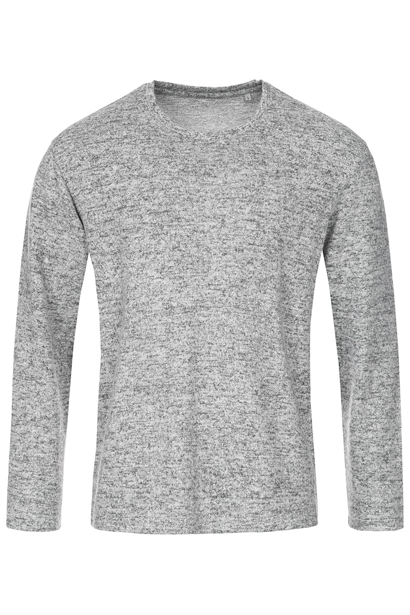 ST9080_LGM Knit Long Sleeve Light Grey Melange