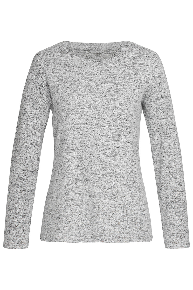 ST9180_LGM Knit Long Sleeve Light Grey Melange