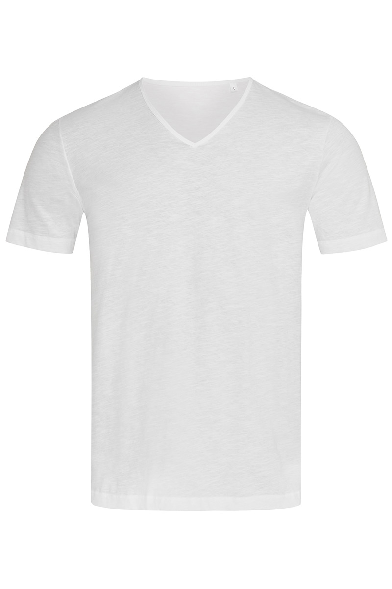 ST9410_WHI Shawn Slub V-neck White