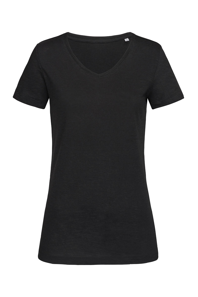 ST9510_BLO Sharon Slub V-neck Black Opal