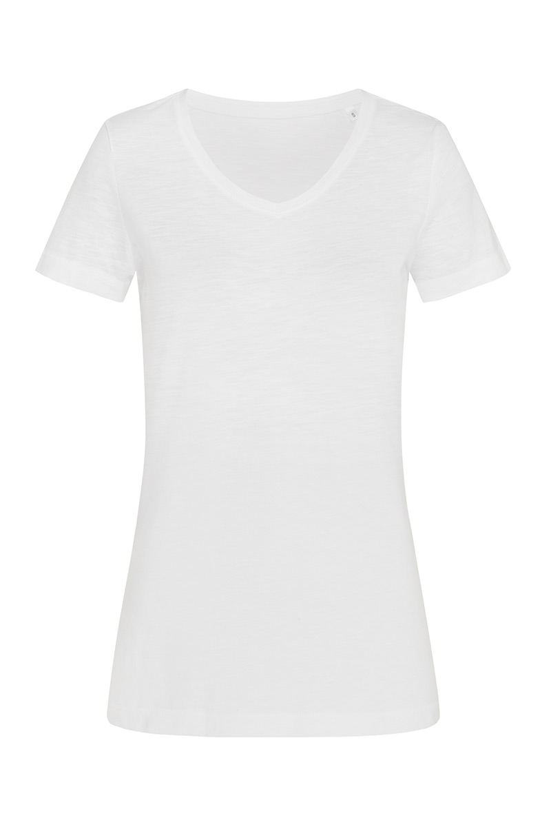 ST9510_WHI Sharon Slub V-neck White