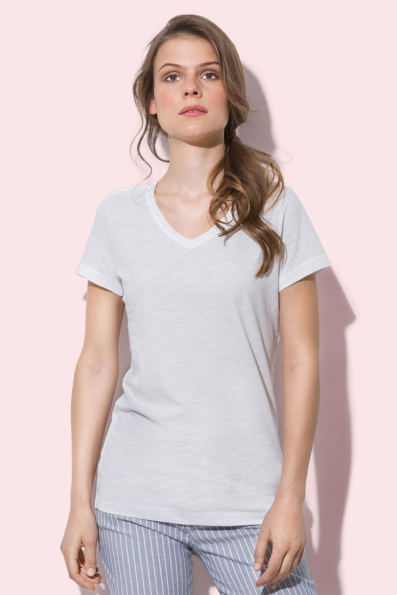 ST9510 Sharon Slub V-neck