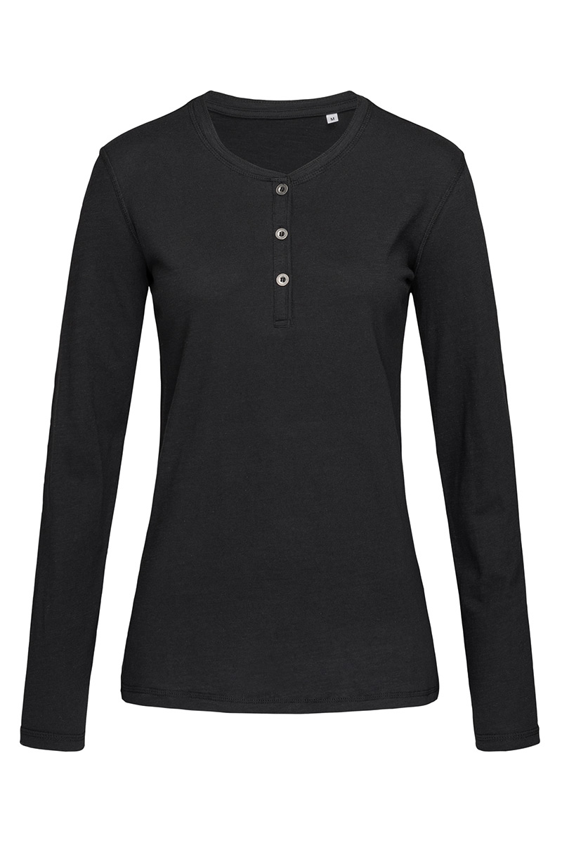 ST9580_BLO Sharon Henley Long Sleeve Black Opal