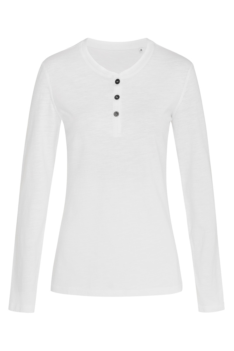 ST9580_WHI Sharon Henley Long Sleeve White