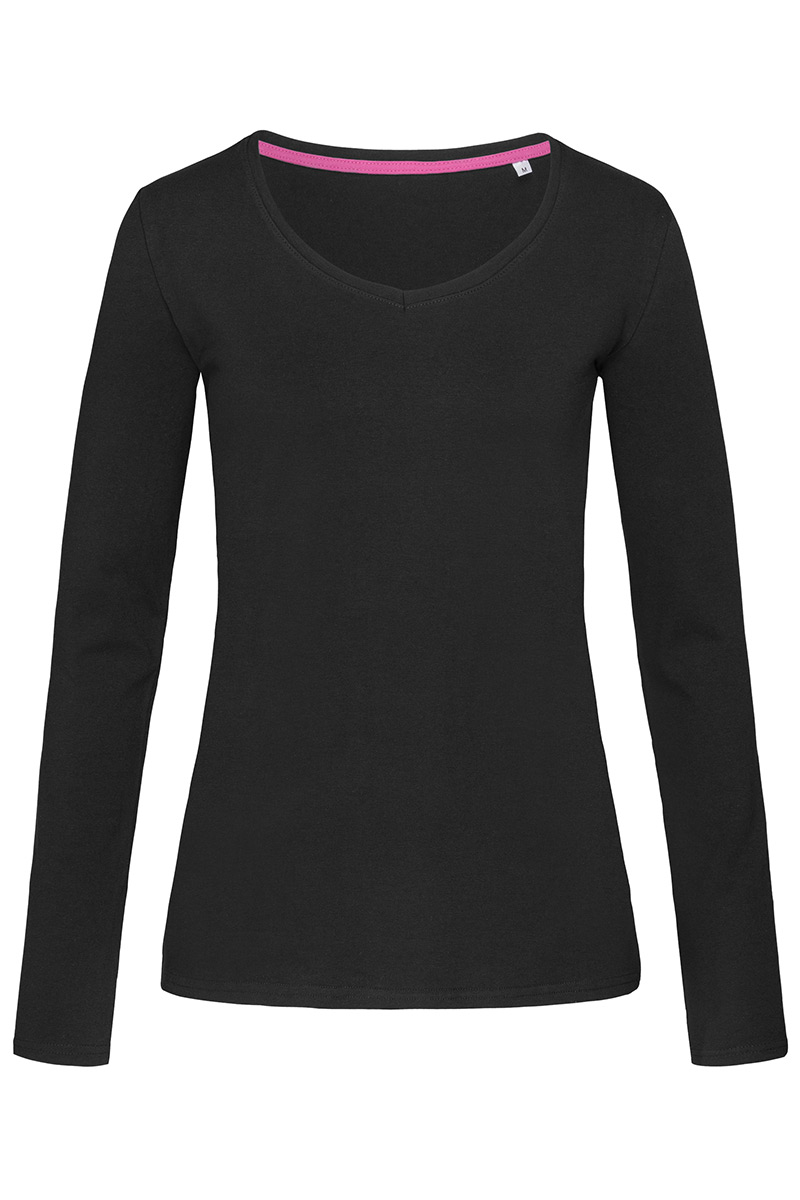 ST9720_BLO Claire V-neck Long Sleeve Black Opal