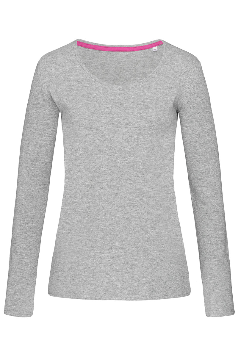 ST9720_GYH Claire V-neck Long Sleeve Grey Heather