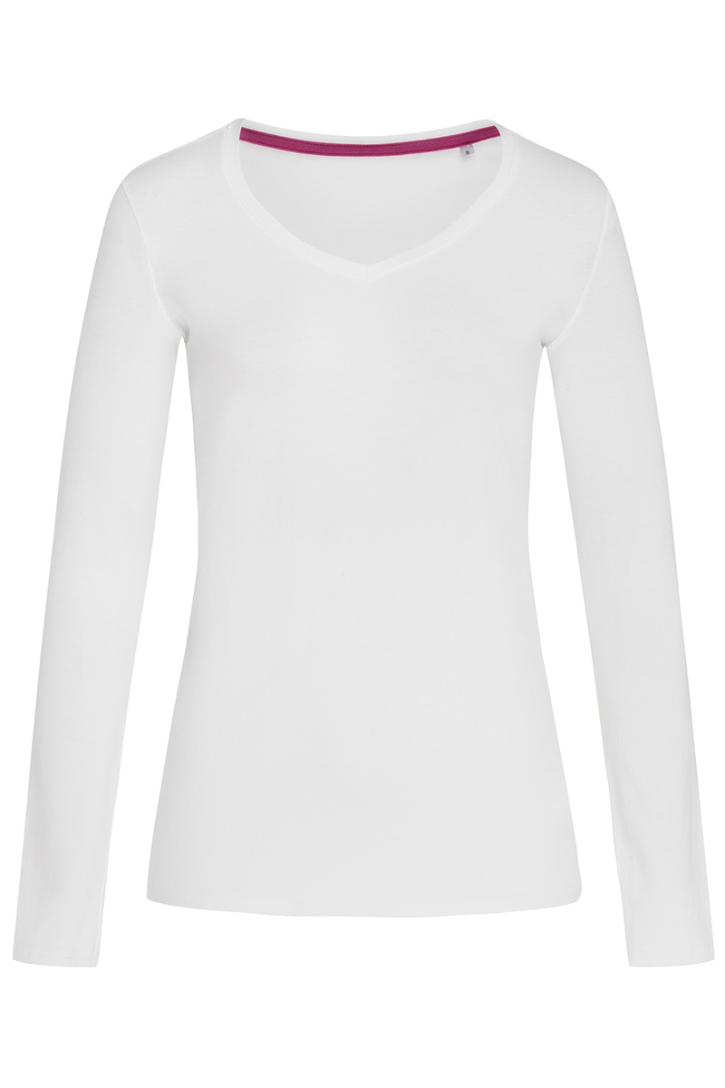 ST9720_WHI Claire V-neck Long Sleeve White